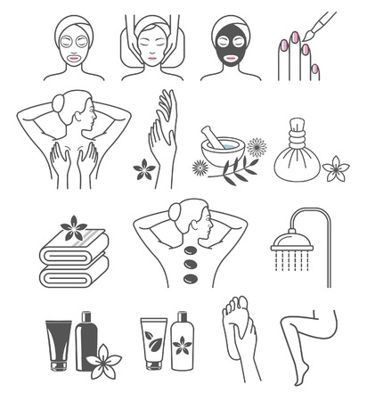 towel: Spa Massage Therapy Skin Care & Cosmetics Services Icons.