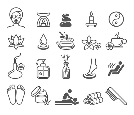 beauty therapist: Spa massage therapy cosmetics icons.