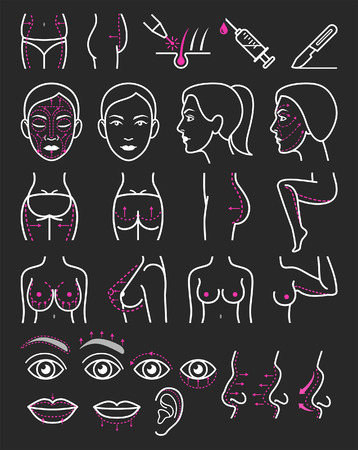 nude stomach: Cosmetic plastic surgery icons.