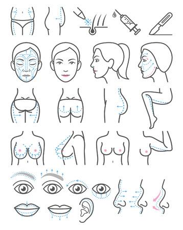 Kosmetyczne ikony chirurgii plastycznej.