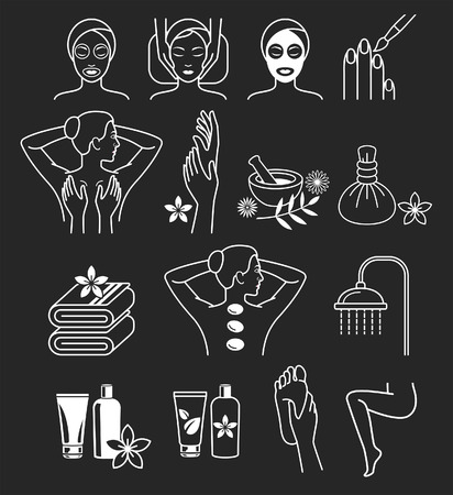 Spa Massage Therapy Skin Care & Cosmetics Services Icons.