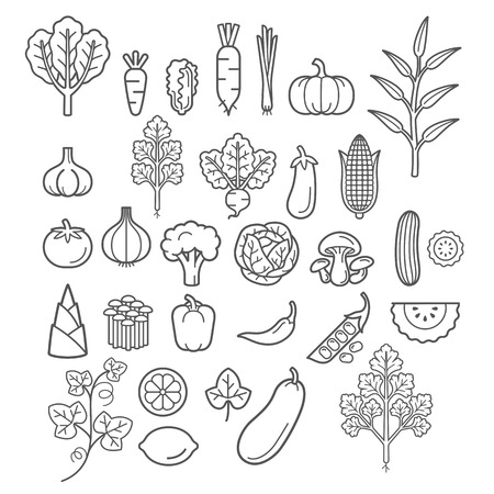 Vegetables icons. 矢量图像