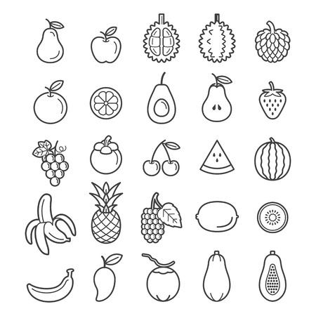 Owoce Ikony. Ilustracje wektorowe