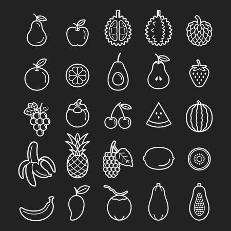 custard apples: Fruits Icons. Illustration