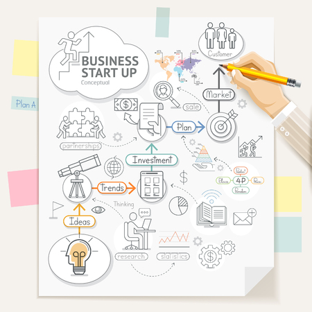 business meeting: Business start up planning conceptual doodles icons style. Businessman hand holding a pencil and writing. illustration.