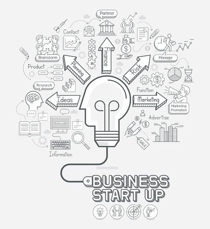 Business start up concept doodles icons set. Light bulb head shape with cord. illustration. 向量圖像