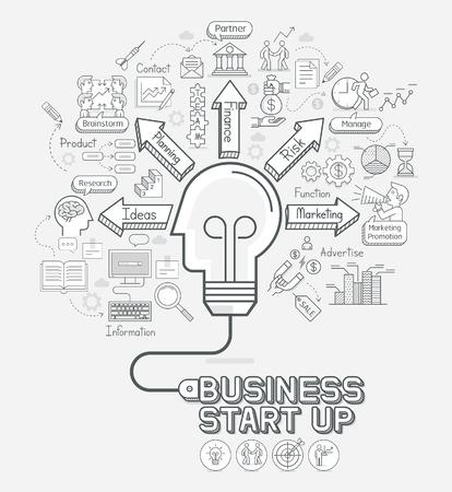 Business start up concept doodles icons set. Light bulb head shape with cord. illustration. Illustration
