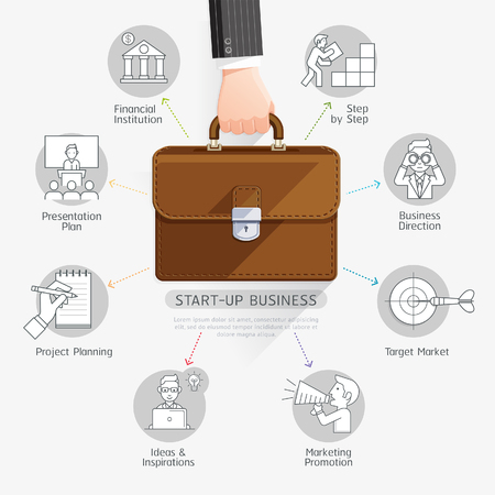 layout: Business start up planning conceptual design. Businessman hand holding briefcase bag. illustration. Can be used for workflow layout, diagram, number options, web design, infographics and timeline. Illustration