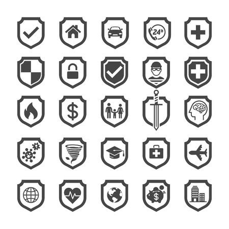 family policy: Insurance policy shield icon design. Illustrations.