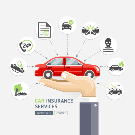 fire damage: Car insurance services. Business hands holding red car. Illustrations.