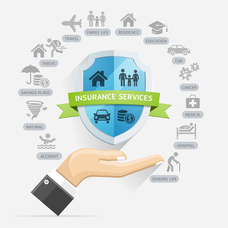 policy services conceptual design. Hands holding shield. Illustrations. Ilustração