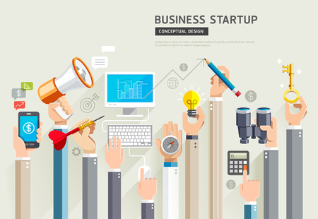 screen: Business start up conceptual design. Set of business hands services. Illustrations.