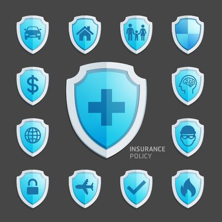Versicherungspolice blauen Schild Icon Design. Illustrationen. Vektorgrafik