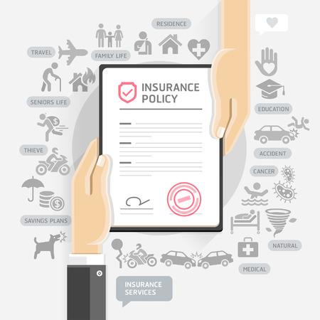 documentos: servicios de póliza de seguro. Las manos de papel dan documento de seguro. Ilustraciones.