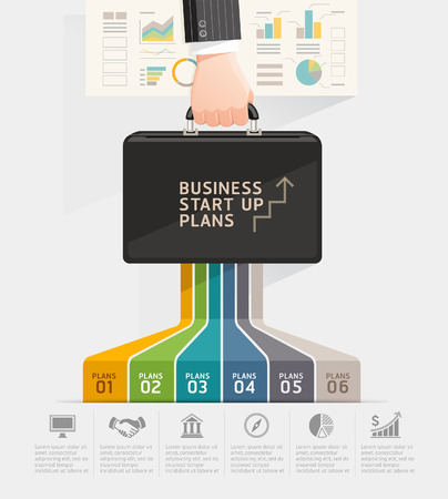 Business start up planning conceptual design. Businessman hand holding briefcase bag.  illustration.