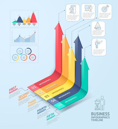 info: Business arrows infographics template. Can be used for workflow layout, diagram, number options, web design and timeline.
