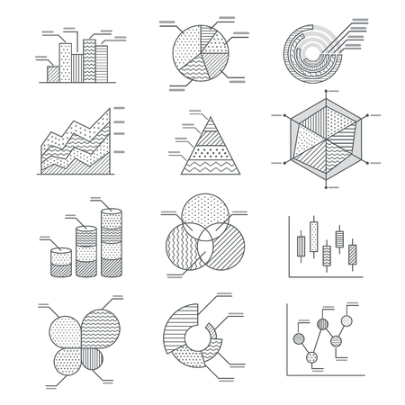 report icon: Business graphs diagrams icons set. illustration. Illustration