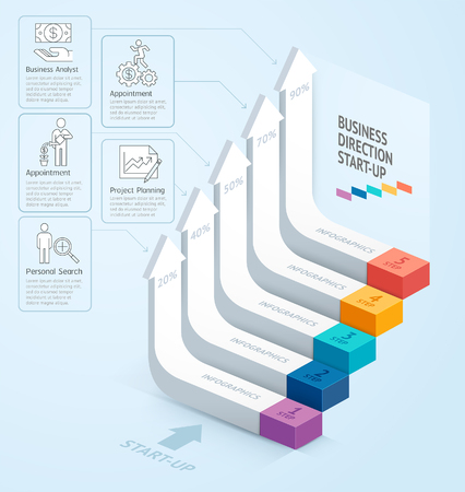 contemporary: Start up business staircase direction. illustration. can be used for workflow layout, banner, number options, step up options, web design, infographics, timeline and diagram template.