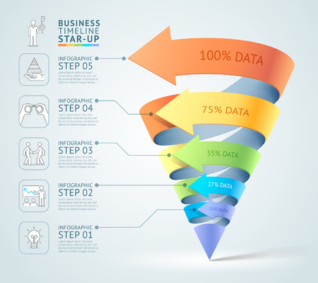 Modern cone 3d staircase diagram business. illustration. Can be used for workflow layout, banner, number options, start up template, web design, infographics, timeline template. Ilustração