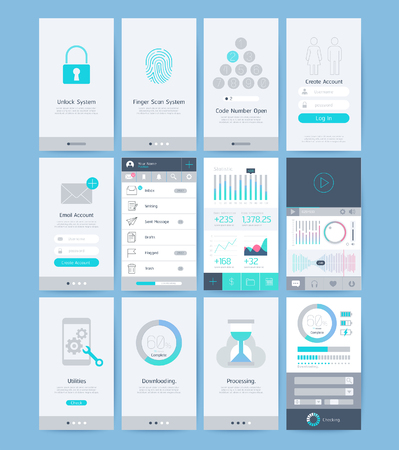 Interface and UI design elements. illustrations. Çizim