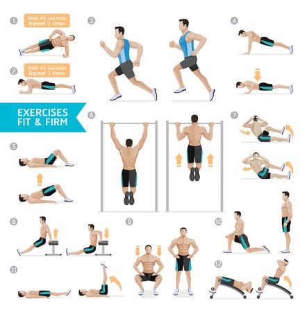 Ćwiczenia treningowe dla mężczyzn, aerobik i ćwiczenia. Ilustracja wektora.