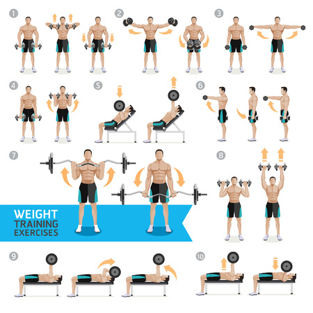 Dumbbell Exercises and Workouts WEIGHT TRAINING. Vector Illustration. Vectores