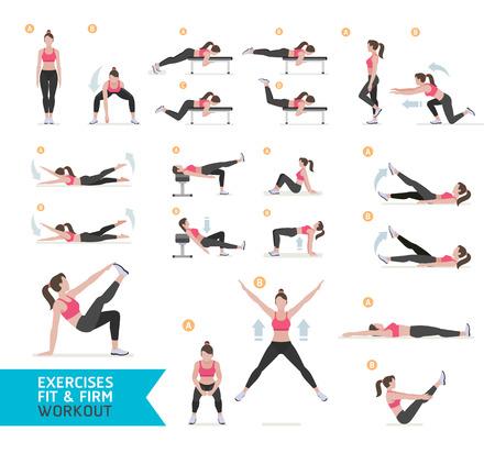ilustração: Mulher treino de fitness, aeróbica e exercícios. Ilustração Vetor.