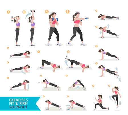 Woman workout fitness, aerobic and exercises. Vector Illustration. Иллюстрация