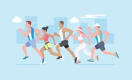 character cartoon: Running marathon. Vector Illustration.Vector Illustration.