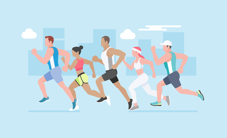 Running marathon. Vector Illustration.Vector Illustration.