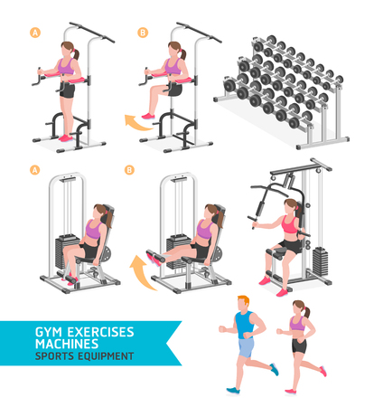 business woman: Gym exercises machines sports equipment. Vector Illustration.