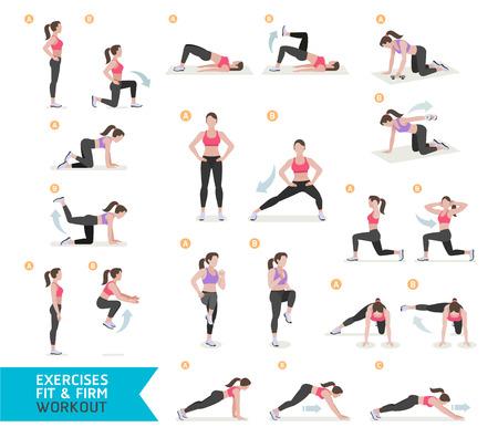 fitness: Entrenamiento de la mujer de la aptitud, aeróbicos y ejercicios. Ilustración del vector. Vectores