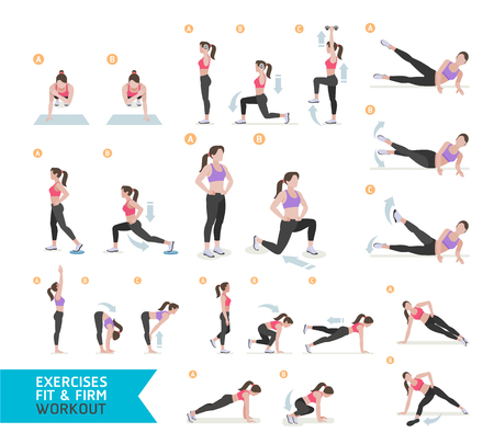 aerobics: Woman workout fitness, aerobic and exercises. Vector Illustration. Illustration