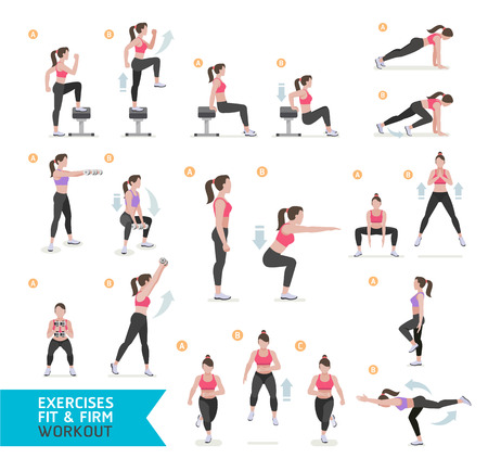 Woman workout fitness, aerobic and exercises. Vector Illustration. 일러스트