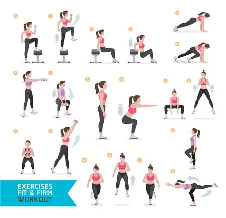 Mulher treino de fitness, aeróbica e exercícios. Ilustração Vetor.