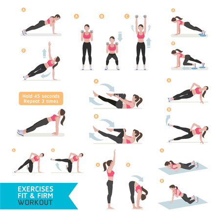 healthy body: Woman workout fitness, aerobic and exercises. Vector Illustration. Illustration