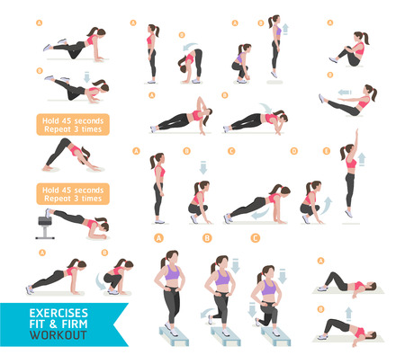 Frauen-Training Fitness, Aerobic und Übungen. Vektor-Illustration.