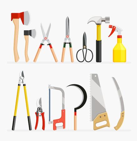 guadaña: Conjunto de herramientas Craftsman y jardinero artículos. ilustración vectorial diseño plano.