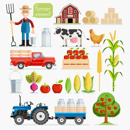 caja de leche: Conjunto del elemento agricultor. Agricultores y animales de granja. Ilustraciones vectoriales. Vectores