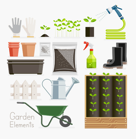 furrow: Conceptual of Gardening. Garden tools equipment. Vector illustration flat style.
