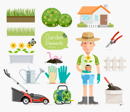 sward: Conceptual of Gardening . Gardener and Garden tools equipment. Vector illustration flat style.