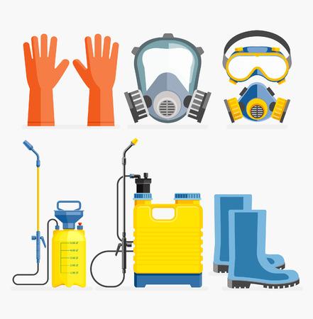Conjunto de herramienta de pesticidas. máscara de gas y el pulverizador. ilustración vectorial diseño plano.