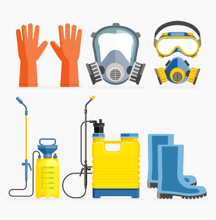 Set of pesticide tool. Gas mask and sprayer. Vector illustration flat design.