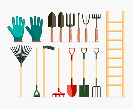 white background: Set of garden tools and gardening items. Vector illustration flat design. Illustration