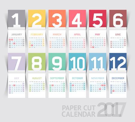 white background: Calendar 2017 print template design paper folding style. Vector illustrations.
