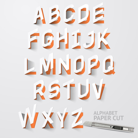 isolated: Alphabet paper cut designs. Vector Illustrations.