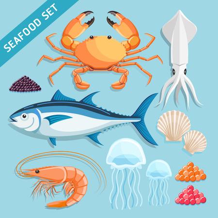 Establecer los mariscos. cangrejo, calamar, atún, camarones, medusas, crustáceos y caviar huevos. Ilustraciones vectoriales.