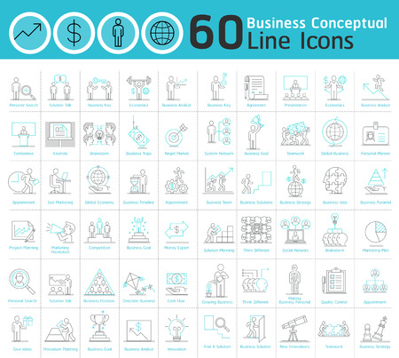 ビジネス概念の細い線のアイコン コレクションのセットです。ベクトル イラスト。