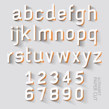 알파벳 종이 컷 디자인. 벡터 일러스트. 일러스트
