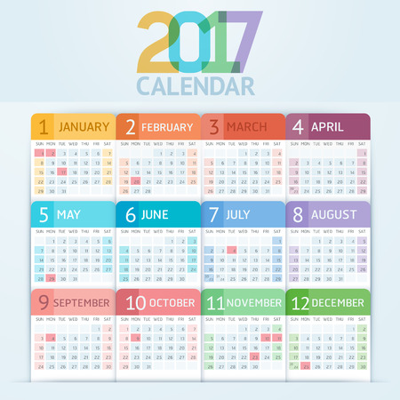 Calendar 2017 print template design. Vector illustrations.